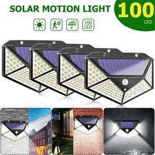 100 LED Solarleuchte Solarlampe Bewegungsmelder Außen Fluter Sensor Strahler 4x