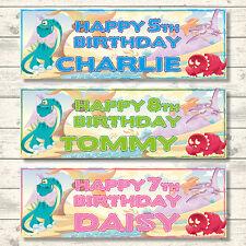 2 Dinosauro Personalizzato Compleanno Striscioni 800mm x 297mm-Scelta di Colori