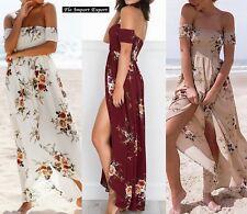 Vestito Donna Abito Lungo Spalle Scese Woman Maxi Dress Flower Print 110318