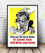 Help put a lid on Hitler : Vintage anti German propaganda , Poster reproduction.