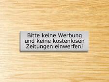 Keine Werbung & keine kostenl. Zeitung einwerfen!,Graviertes Schild,silber matt