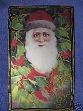 Christmas Wishes Tin Metal Sign Santa Post Card Vintage Look NEW