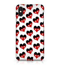 White Polka Dot Dark Black Mixed Red Girly Love Hearts Pattern Phone Case Cover