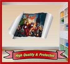 Avengers Hulk Iron Man Captain America Wall Rip Printed Vinyl Sticker Decal Boys
