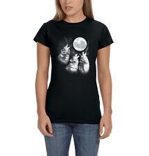 Three Wolf Moon Grey Wolves Howling Moonlight Animal Women's T-Shirt Tee