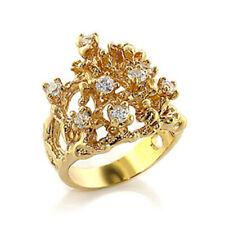 Bague luxe plaqué or 18k femme mode chic moderne serti zirconium diamant mariage