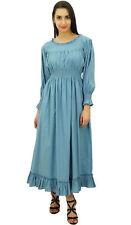 Bimba Women Grey Cotton Smocked Waist Long Maxi Dress Boho Chic Summer Dresses