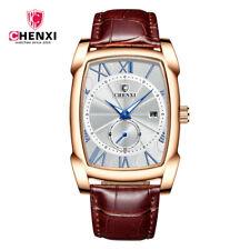 CHENXI Men Quartz Gold Watch Luxury Male Business Rectangle Leather Wristwatch