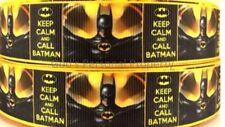 """7/8"""" BATMAN KEEP CALM CALL BATMAN GROSGRAIN RIBBON BY THE YARD USA SELLER"""
