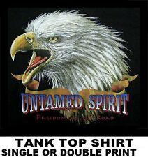 UNTAMED SPIRIT FREEDOM OF ROAD PATRIOTIC EAGLE AMERICAN BIKER TANK TOP SHIRT 517