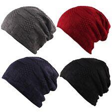 Costilla de punto grueso ITZU Waffle imitación piel de lana forrada Slouch  Beanie Cap Hat Unisex 96b09826bcd