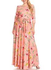 Plus Blush Pink Floral Jersey Fit Flare Maxi Dress Side Pocket Sweep Skirt