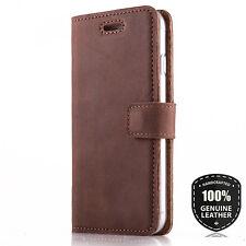 Echtes Handy Ledertasche Schutzhülle Wallet Flip Case mit Kartenfach Nussbraun