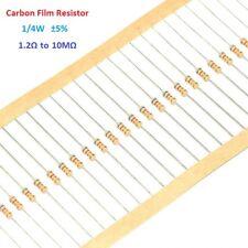 1000pcs Carbon Film Resistor 1/4W 0.25W - Full Range of Values ( 1.2Ω-10MΩ)