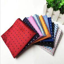 "Fashion men's 100% silk polka dots pocket square handkerchief wedding hanky 9.8"""