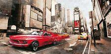 IVAN Baldo : Rojo Rocket bastidor de cuña - Imagen Lienzo CUBA ÉPOCA Mustang