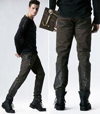 Pantalon jeans gothique punk steampunk enduit cuir vintage mode Punkrave homme