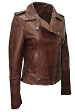 Ladies Women's BRANDO Brown Fashion Biker Style Soft Leather Rock Jacket