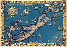 Early Map Bermuda Islands Wall Art Poster Print Decor Vintage History Genealogy
