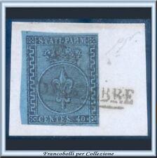 ASI 1852 Parma 40 c. azzurro n. 5 su Usato Frammento Antichi Stati  Italiani