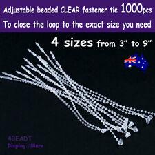 LOOP Pin Ties Fastener BARB Beaded | 1000pcs | CLEAR Adjustable | AUSSIE Seller