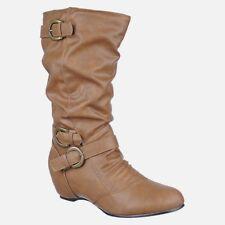 sexy Women hidden wedges high heel Mid Calf Winter Fashion Riding Boots B18