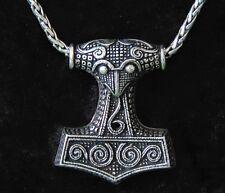 Wikinger Kette handgemacht Anhänger Thorhammer Thors Hammer Mjölnir 925 silber