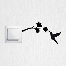 Wandtattoo Kolibri Vogel Blumen Lichtschalter Aufkleber