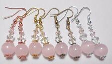 - silver, rose, gold, bronze Pink glass bead drop earrings