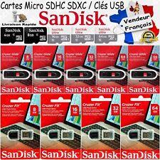 Clé USB ou Carte Mémoire SanDisk Micro SD SDHC SDXC ULTRA 4 8 16 32 64 128 Go Gb