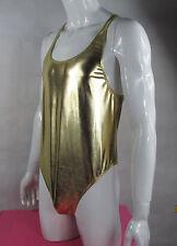 K328R Mens Shiny bodysuit Thong Leotard Coated Metallic Gold/Silver