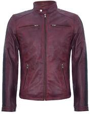 Mens Burgundy, Black Leather Jacket Vintage Retro Racing Zipped Biker