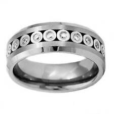 8mm Tungsten Band Silver Bubble Round CZ Eternity Men's Wedding Ring