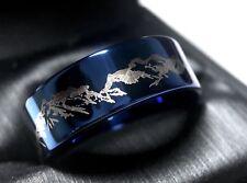 Mens Wedding Bands, Mountains Ring, Blue Tungsten Ring, Mens Women Wedding Rings