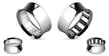 PAIR Inner Gems (choose Clear or Clear/Black) Steel Saddle Tunnels Plugs Gauges