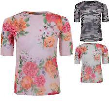 Ladies Mesh See Through Floral Camo Khaki Short Sleeve Sheer T-Shirt Top