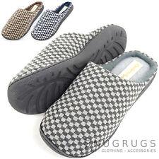 Para Hombre Microfibra Slip On mulas / Zapatillas micro forro polar y comprobado de diseño