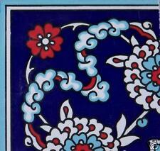 "Floral Navy & Red 4""x4"" Turkish/Ottoman Iznik Ceramic Tile Border CORNER"
