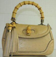 $15,300 Gucci Tan Wheat Beige New Bamboo EXOTIC Ostrich Top Handle Tassel bag