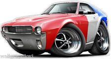 1968-9 AMC AMX Cartoon Car Decal Sticker Wall Graphic Trailer Cornhole Tool Box
