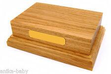 "Solid Oak Wooden Display Plinth Base 6x4"" Top Ornaments Trophy Engrave Plaque"