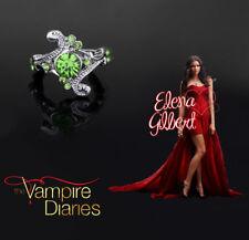 The Vampire Diaries Elena Gilbert Green Emerald Gem Silver Plated Daylight Ring