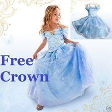 mädchen kinder prinzessin cinderella kleid kostüm kleid blau kinder
