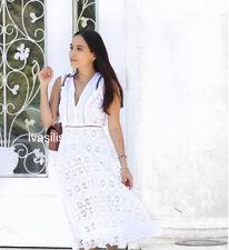 ZARA NEW WOMAN DRESS WITH CUTWORK EMBROIDERY A-LINE V-NECK WHITE XS-XL 0097/021