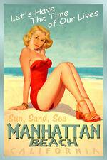 MANHATTAN BEACH California -New Original Poster Pacific Pin Up Art Print 241