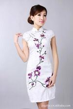 Jolie Mini Robe Chinoise Qi-Pao Blanc en Coton Tissé BrodéTailles au choix