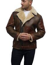 Brandslock Men's Genuine Shearling Sheepskin Leather Bomber Flying Jacket