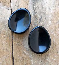 "Pair Black Obsidian Organic Concave Flare Teardrop Stone Ear Plugs Gauge 5/8""-1"""