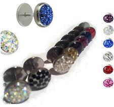 Austrian Crystal Ferido 10mm Dome Paved Gems Fake Ear Plugs Taper Tunnel earring
