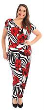 New Ladies Cap Sleeve Cowl Neck Stripy Floral Hareem Jumpsuits Dress 14-28